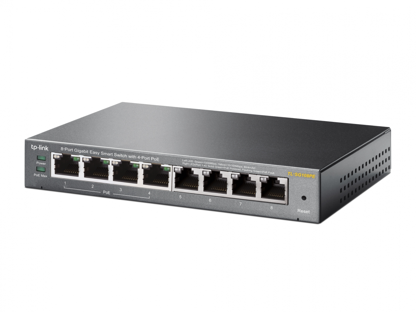 TP-LINK TL-SG108PE 8-Port Gigabit Easy Smart Switch with 4-Port PoE